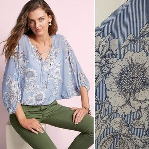 Cabi Sirena Blue Stripe Floral Sheer Top Cover Up